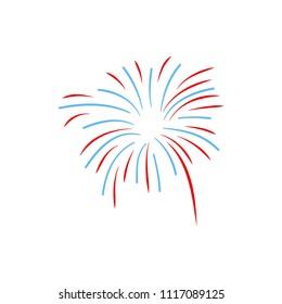 Fireworks display celebration vector illustration. Firework design on white background