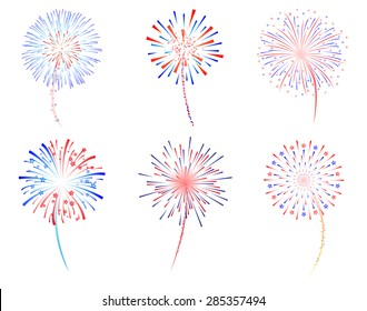 Fireworks display celebration vector illustration