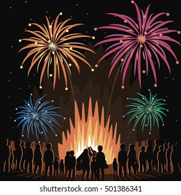 Fireworks Display Flyer Vector Illustration Poster