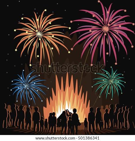 fireworks display flyer vector illustration poster stock vector