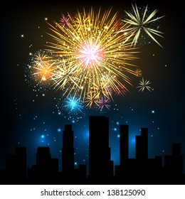 Fireworks Display over the Night City, vector illustrated background