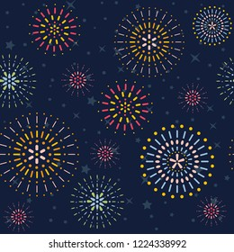 Fireworks display seamless background. Pattern. Vector illustration.