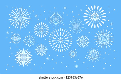 Fireworks explosion. Celebration fuego fire or firework vector holiday anniversary, birthday or new year carnival explosion night firecracker show concept illustration background