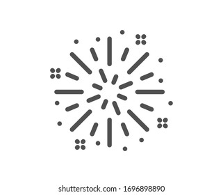 Fireworks explosion line icon. Pyrotechnic salute sign. Carnival celebration lights symbol. Quality design element. Editable stroke. Linear style fireworks explosion icon. Vector