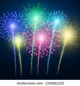 Fireworks. Festival colorful firework. Vector llustration on blue background.