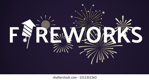 Fireworks festive celebrating template with white inscription and light explosive salutes on dark background. Vector illustration