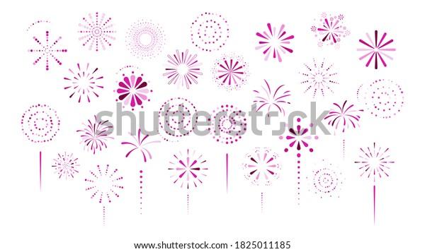 Fireworks, firecracker purple color on white background. Cartoon simple style. Design element decor for firework festival, anniversary, holiday, birthday, winner. Vector illustration.