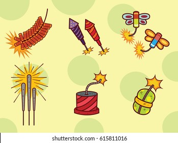 Fireworks and Firecrackers Icon Set. Vector Cartoon Style.