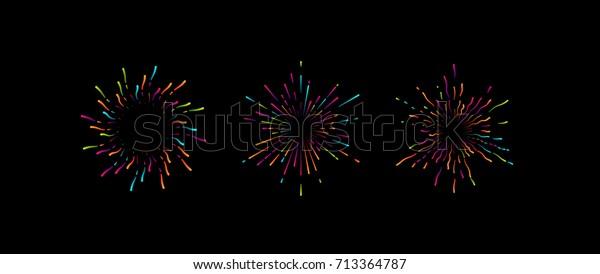 Fireworks graphic shapes. Vector illustration of bursting colorful star shapes set. Decorative vintage elements for design. Pyrotechnic symbols