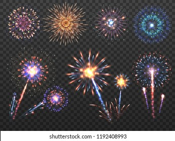 Fireworks. Holiday firework explosion in night, firecracker sparks. Happy new year vector decoration set isolated. Explosion firecracker, holiday bright celebration illustration