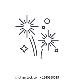 Fireworks holidays line icon concept. Fireworks holidays vector linear illustration, symbol, sign