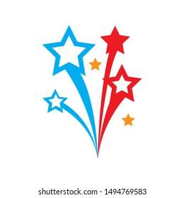 fireworks icon. flat illustration of fireworks - vector icon. fireworks sign symbol