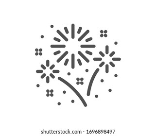 Fireworks line icon. Pyrotechnic salute sign. Carnival celebration lights symbol. Quality design element. Editable stroke. Linear style fireworks icon. Vector