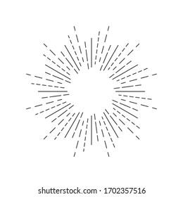 Fireworks linear icon. Round sun burst symbol on white background. Vector illustration.