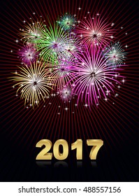 fireworks new year 2017 concept