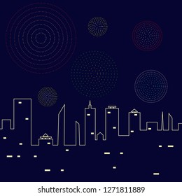 fireworks in the night sky above the city vector illustration. stars,skyline and salute