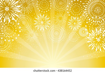 fireworks on gold background