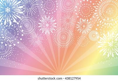 fireworks on rainbow background