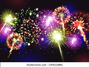Fireworks realistic background with party celebration snd joy symbols vector illustration