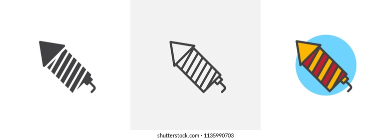 Fireworks rocket icon. Line, solid and filled outline colorful version, outline and filled vector sign. Petard symbol, logo illustration. Different style icons set. Pixel perfect vector graphics