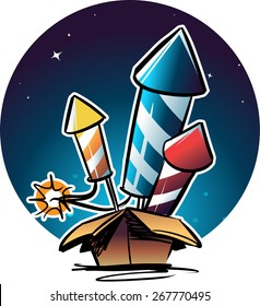 fireworks rockets in the box