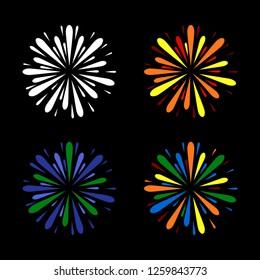 Fireworks Set. Color on Black Background. Vector