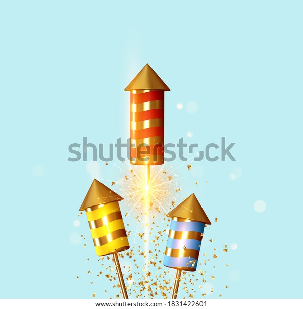 Fireworks set rocket with glitter confetti. Festive light sparkling flash firework. Celebrate Background with firecrackers. Holiday Realistic decoration 3d object. vector illustration