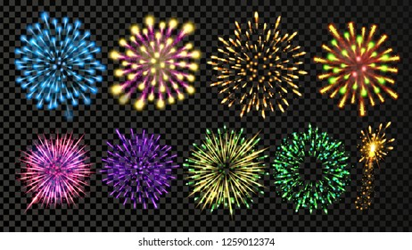 Fireworks Set Vector. Festive Carnival Night Sky. Bursting Sparkling Star Petard Light Effect. Holiday Anniversary Salute Burst. Isolated On Transparent Background Realistic Illustration