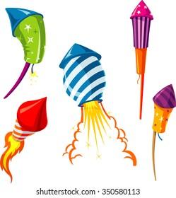 Fireworks Set-Variations of rocket firework design elements for event celebration
