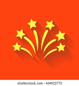 Fireworks sign icon. Explosive pyrotechnic show symbol. Vector