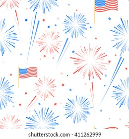 Fireworks and stars in American national flag colors. Seamles pattern for US Independence Day 4th of July. Vector illustration on white background