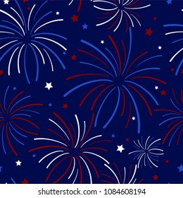 Fireworks and Stars Seamless Pattern - Festive exploding fireworks and stars filling the night sky seamless pattern in colors of red, white, blue, and navy blue