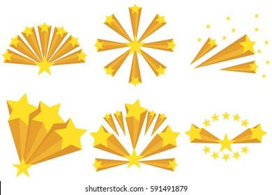 Fireworks of the stars, star explosion. Flat design, vector illustration. vector.