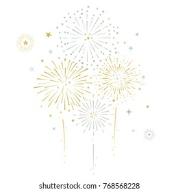Fireworks and stars vector illustration