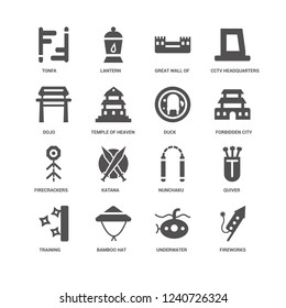 Fireworks, Temple of heaven, Tonfa, Lantern, Quiver, Nunchaku, Katana, Underwater icon 16 set EPS 10 vector format. Icons optimized for both large and small resolutions.