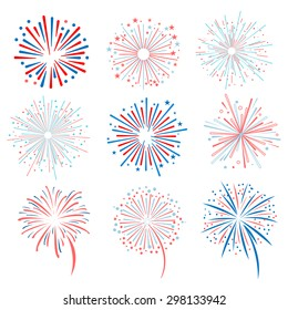 Fireworks vector illustration set for registration cards and packaging