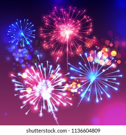Fireworks vector illustration of sparkling birght lights and bokeh effect. Realistic background for New Year and Cristmas holiday or Birthday party celebration or greeting card deisgn