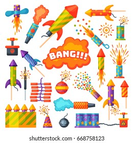 Fireworks vector set pyrotechnics rocket and flapper firework display on birthday party celebrate fireworker launch salute festival tools isolated illustration.