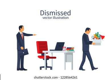 Firing employee. Sad man with a box in hands leaves work. Boss points out bismissed businessman. Employee job reduction, unemployment, crisis in job. Vector illustration flat design.