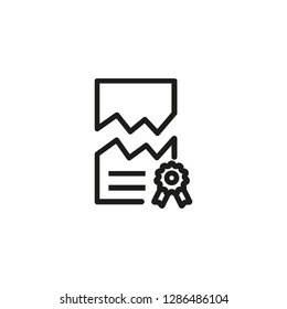 Firm liquidation line icon. Teared document, contract, agreement. Legal services concept. Vector illustration can be used for topics like law force, government, regulation