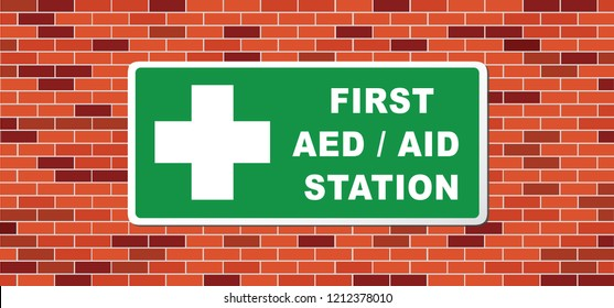 First aed / aid station. This building is equipped with an AED. Emergency defibrillator AED icon icons Medical logo cpr Vector eps symbol location automated external Medical signs sign heart