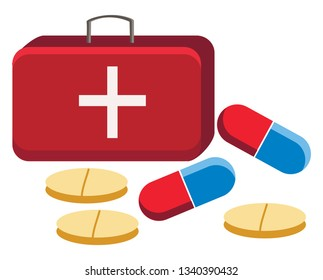 A first aid box with different tablets and capsules in background vector color drawing or illustration