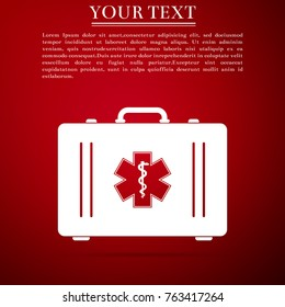 First aid box and Medical symbol of the Emergency - Star of Life icon isolated on red background. Flat design. Vector Illustration
