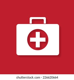 First aid case flat icon with shadow. Vector illustration eps10.