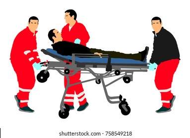 First aid crew help injured person after crash accident transport . Paramedics evacuate man by hospital stretcher trolley. Helping people after body collapse. Health care protection. Lifeguard action.