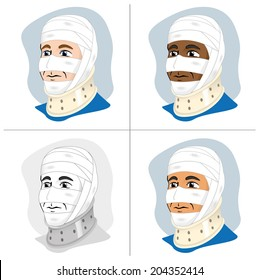 First Aid dressing with bandages on head and neck collar / Illustration of a human head with bandages and using cervical collar to immobilize the neck. Ideal for catalogs, information and guides