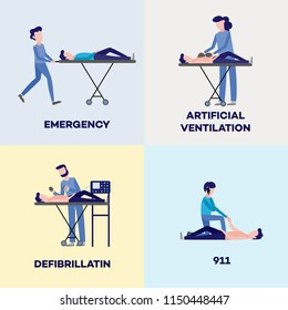 First aid, emergency and medical rescue scenes posters set. Male, female nurses and doctors doing defibrillation, artificial ventilation, calling 911 helping disabled people on wheelchair vector