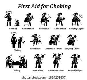 First aid emergency treatment for choking stick figures icon. Vector illustrations of baby, child, and adult choking while getting rescued with Heimlich Maneuver method.