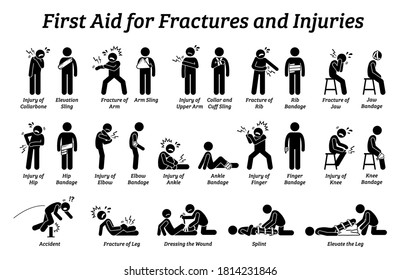 First aid for fractures and injuries on different body parts stick figure icons. Vector illustrations of sling, bandage, and elevation techniques treatment for broken bones and pain.