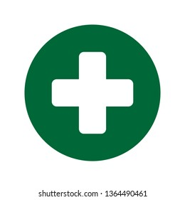 First aid. Green medical cross vector icon. Medicinal and pharmacy sign.